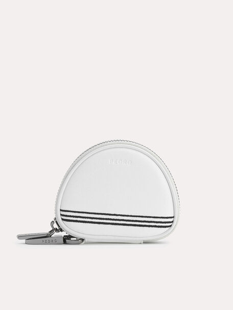 Textured Leather Key Pouch, White, hi-res