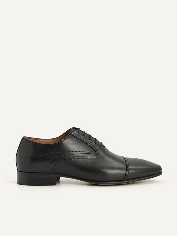 Leather Cap Toe Oxford Shoes, Black, hi-res