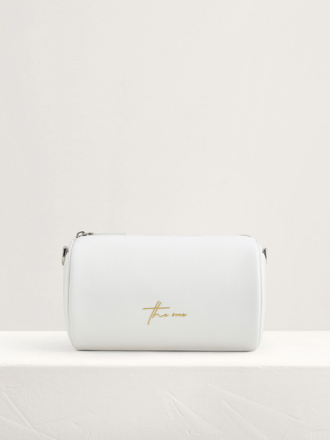 Cylindrical Sling Bag, White, hi-res