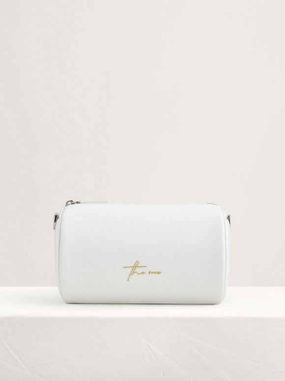 Cylindrical Sling Bag, White, hi-res