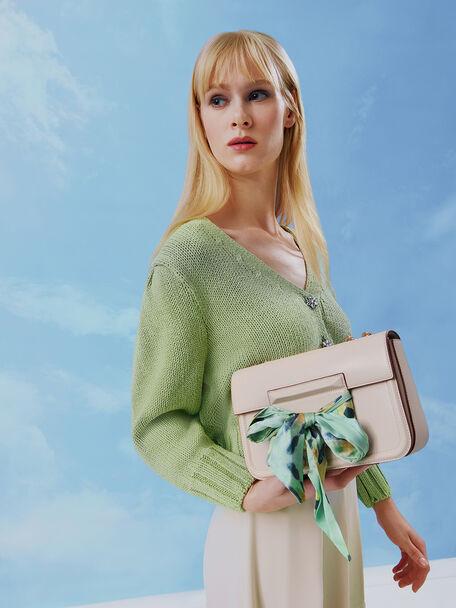 Boxy Shoulder Bag with Scarf, Chalk, hi-res