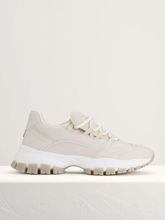 Mesh Chunky Sneakers, Cream, hi-res