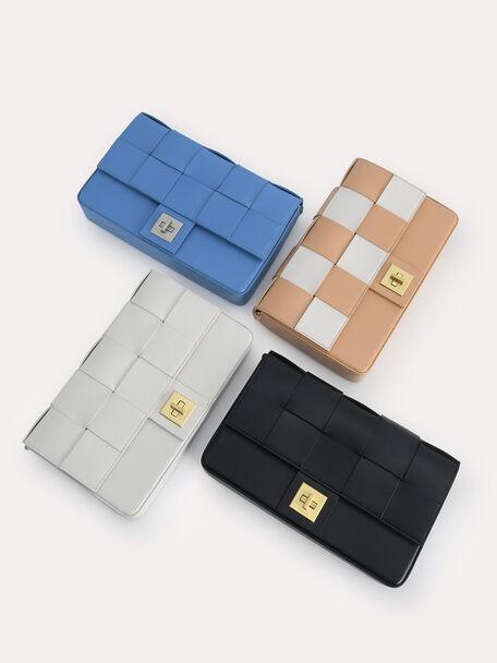 Woven Shoulder Bag, Sand, hi-res