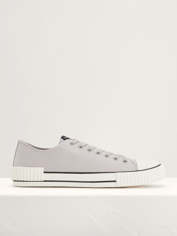 Casual Canvas Sneakers, Light Grey, hi-res