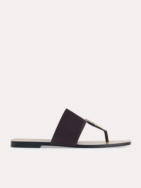 Embellished Thong Flats, Dark Brown, hi-res