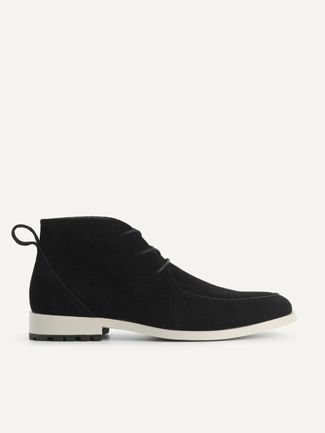 Suede Leather Boots, Black, hi-res