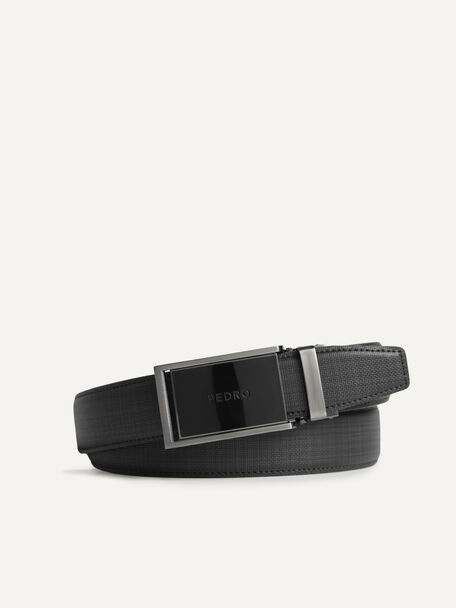 Textured Leather Automatic Buckle Belt, Black, hi-res