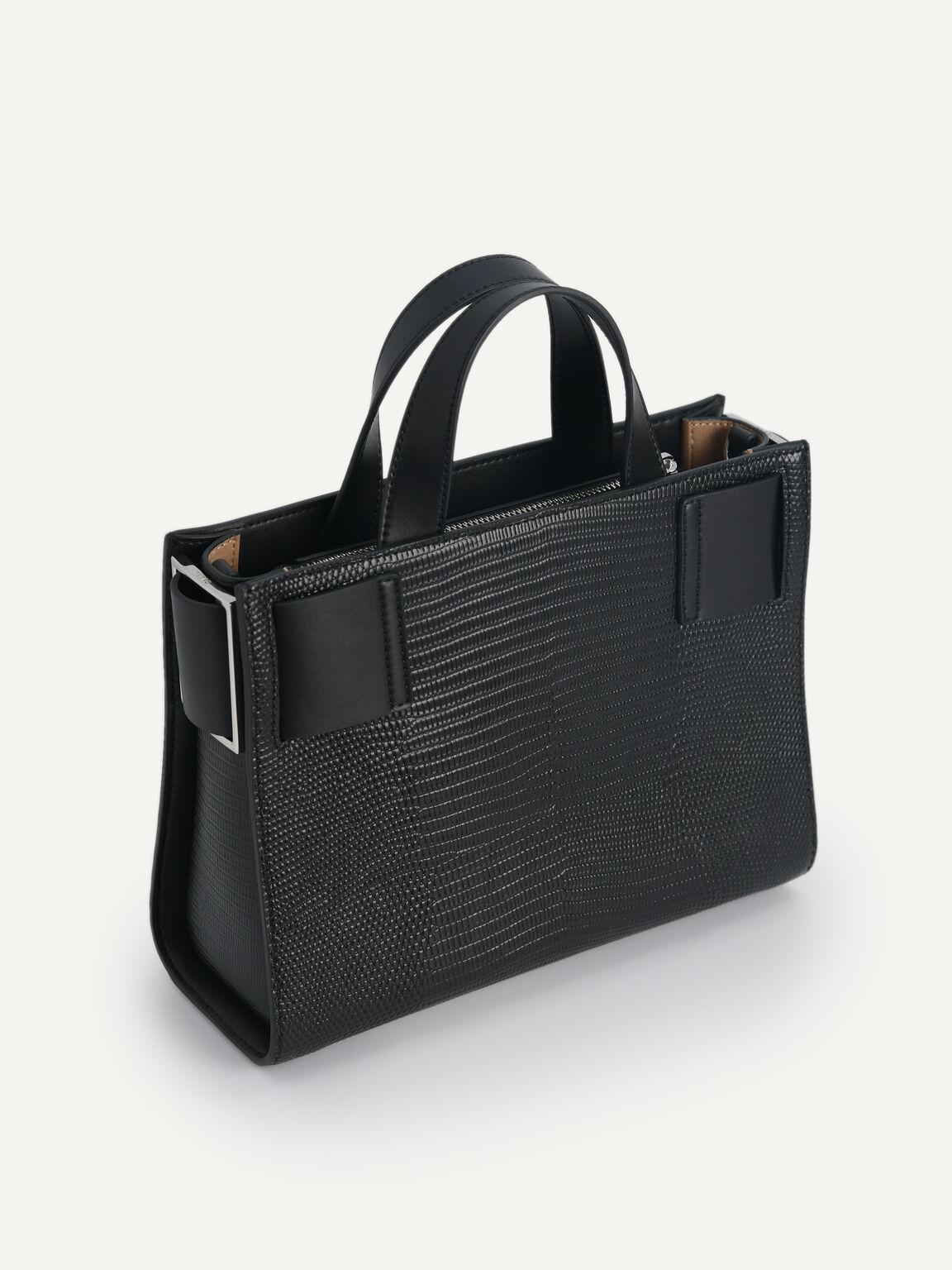 Lizard-Effect Leather Top Handle Bag, Black, hi-res