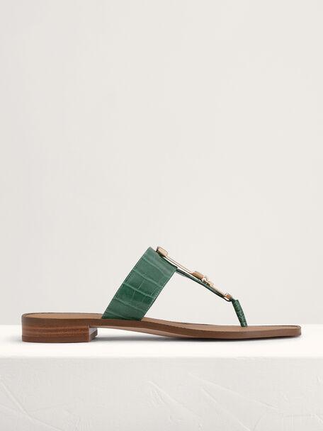 Croc-Effect Buckled Thong Sandals, Green, hi-res