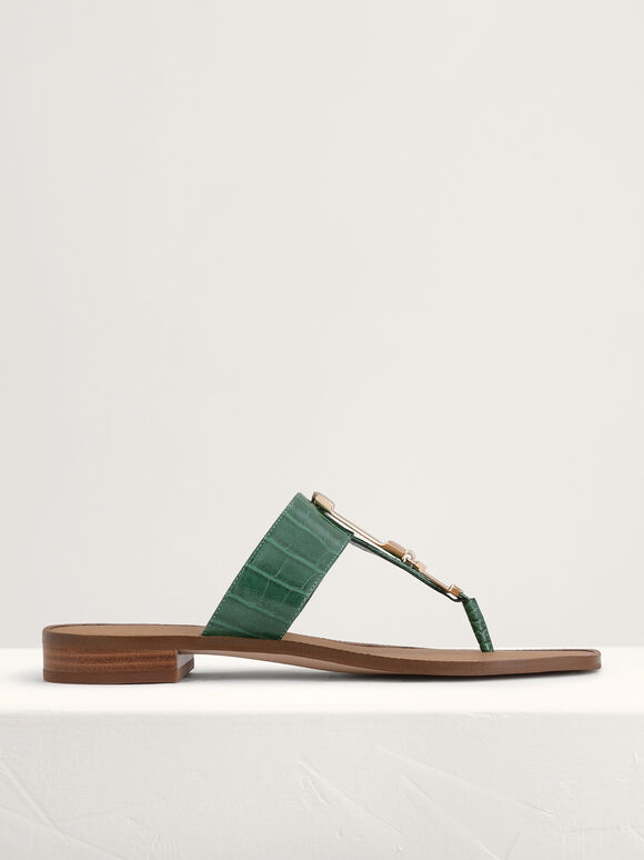 Croc-Effect Buckled Thong Sandals, Green, hi-res