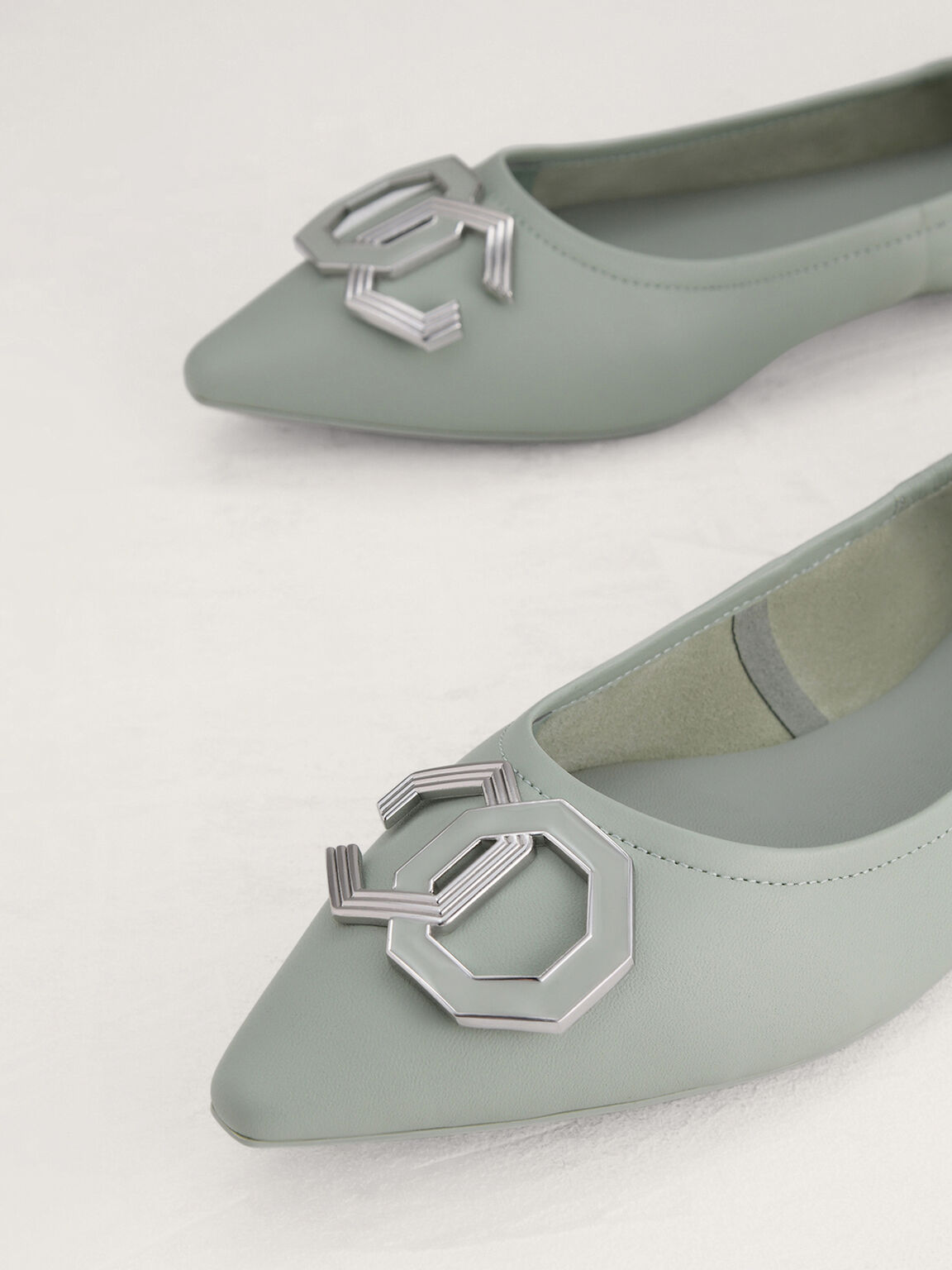 Octagon Hardware Leather Flats, Mint, hi-res
