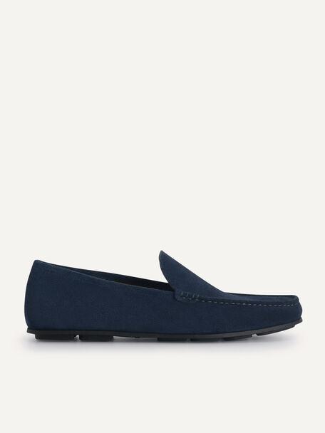 Suede Loafers, Navy, hi-res