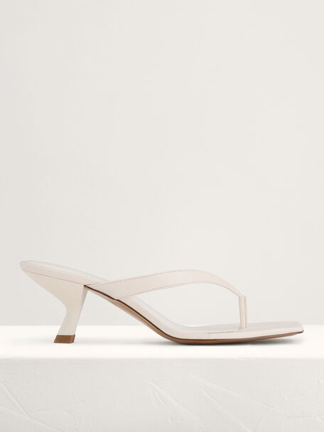 Square Toe Thong Heeled Sandals, Chalk, hi-res