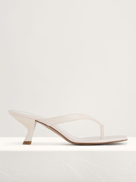 Square Toe Thong Heeled Sandals, Chalk, hi-res