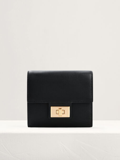 Leather Short Wallet On Chain, Black, hi-res