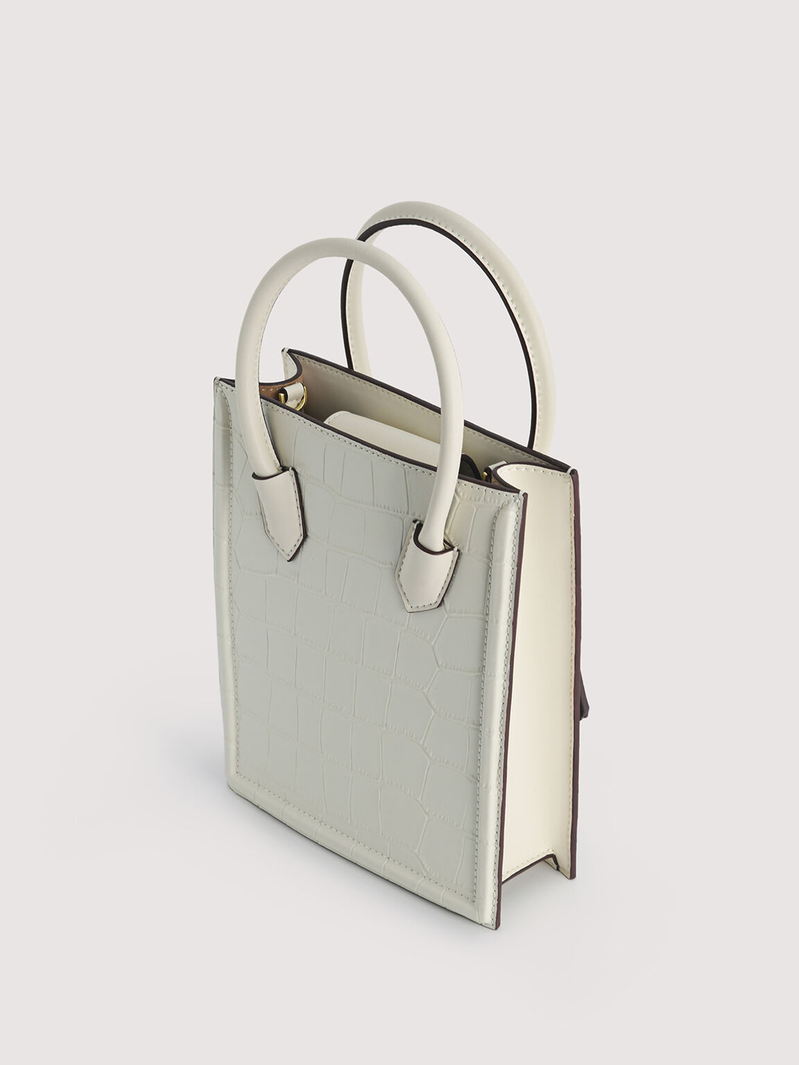 Croc-Effect Leather Tote, Chalk, hi-res
