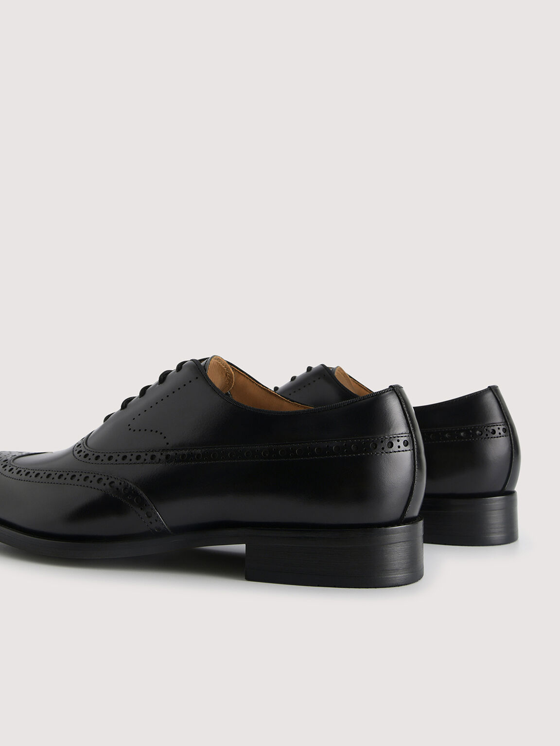 Brogue Leather Loafers, Black, hi-res