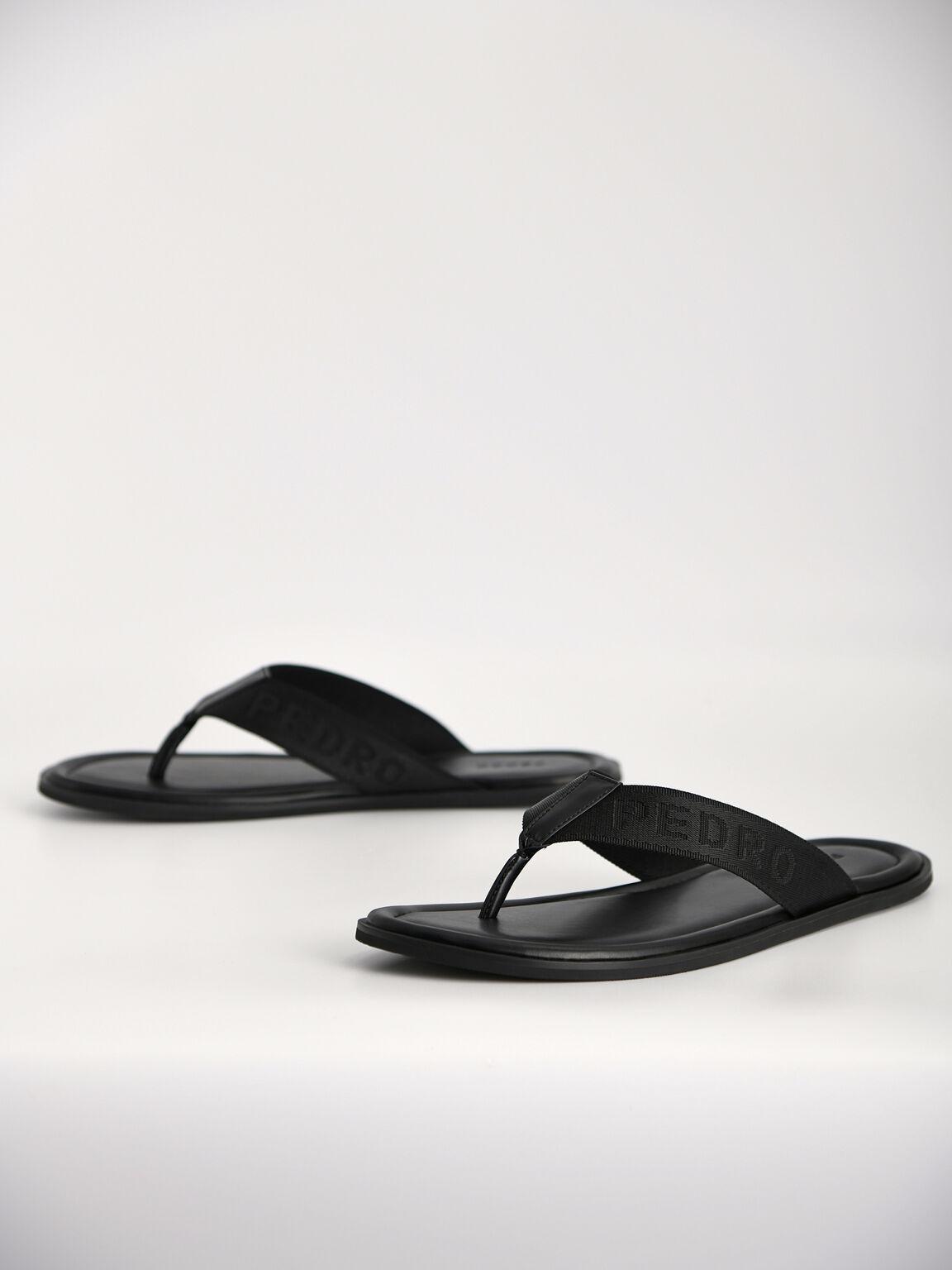 Nylon Thong Sandals, Black, hi-res