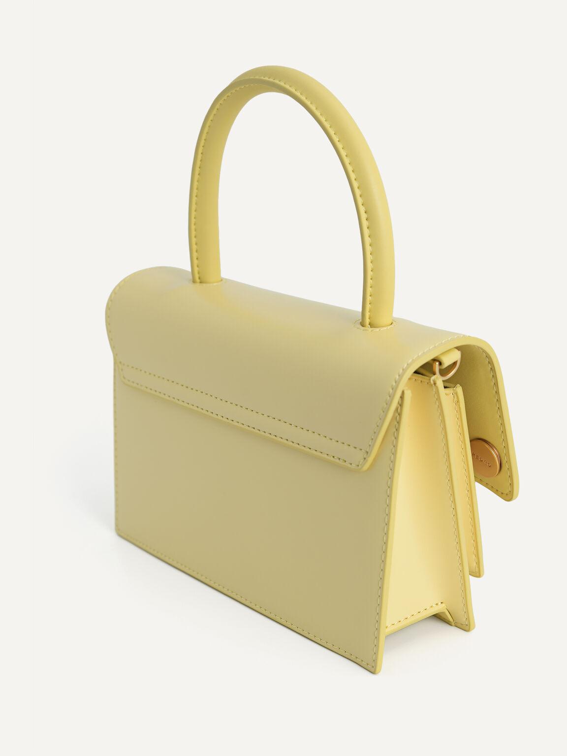 Boxy Leather Top Handle Bag, Light Yellow, hi-res