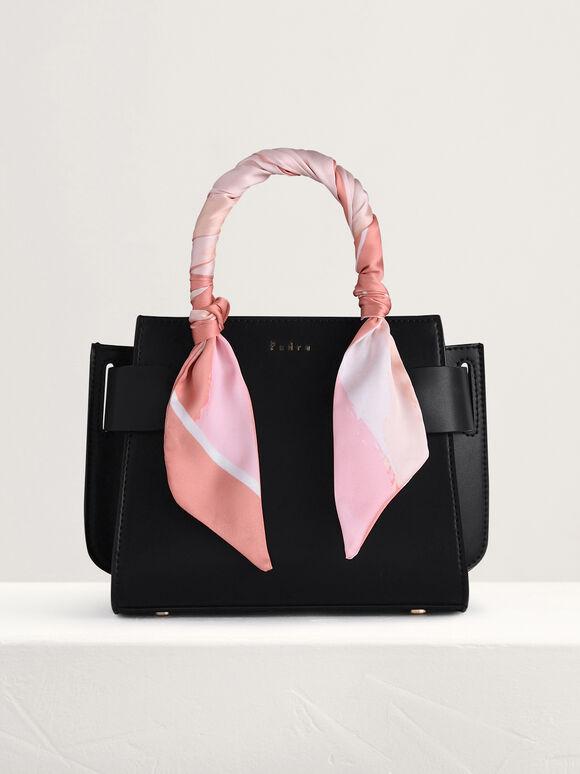 Twill-Trimmed Top Handle Bag, Black, hi-res