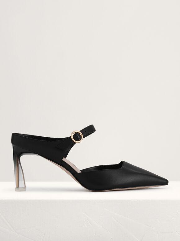 Leather Buckled Heels, Black, hi-res