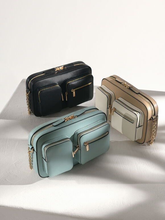 Leather Boxy Bag, Multi, hi-res