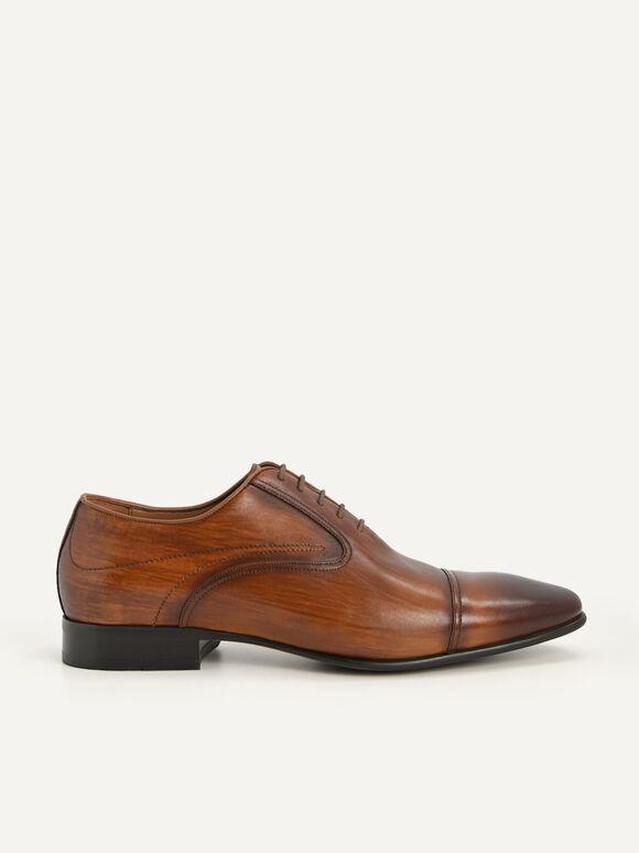 Leather Cap Toe Oxford Shoes, Cognac, hi-res