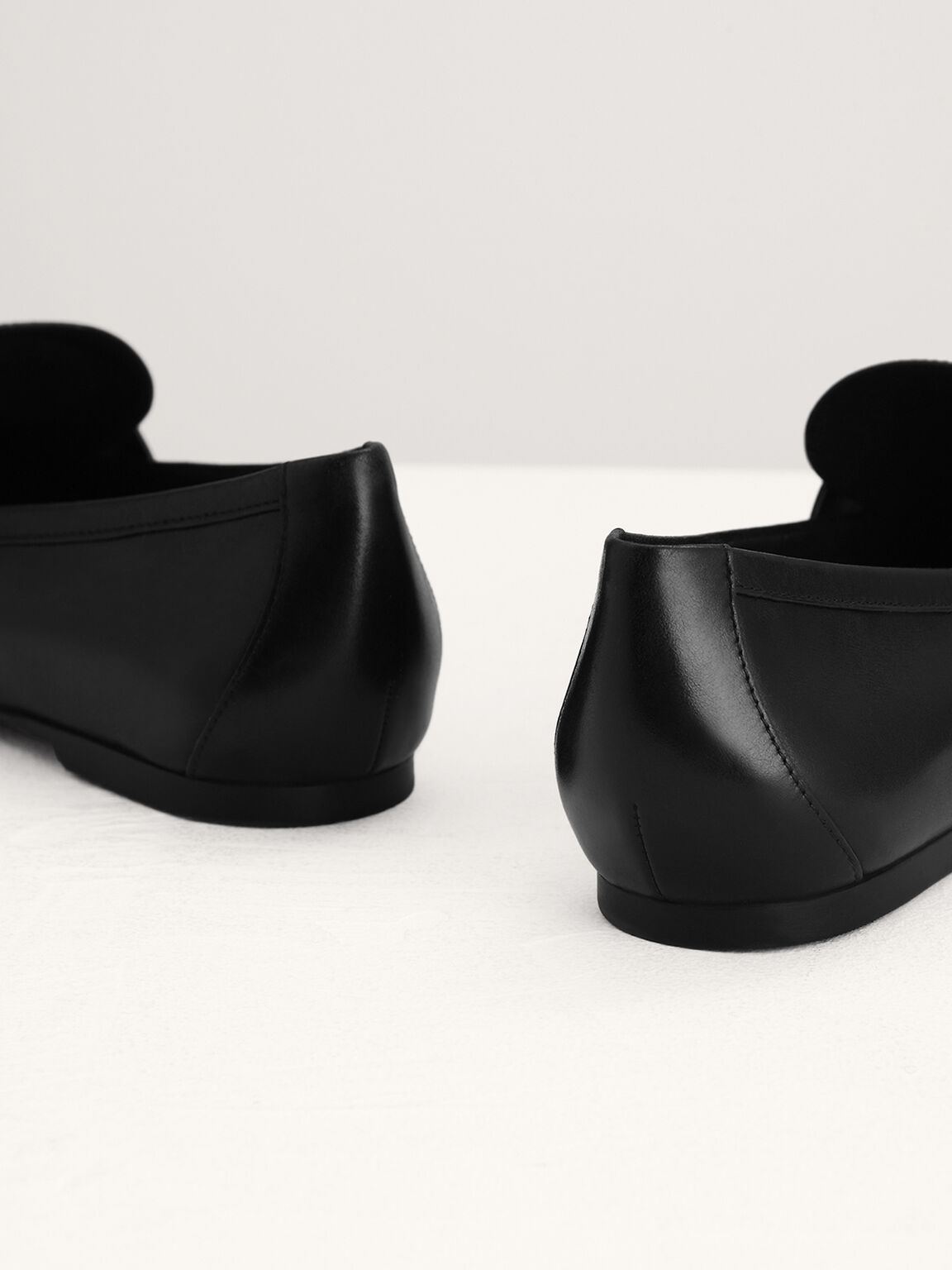 Buckle Leather Loafers, Black, hi-res