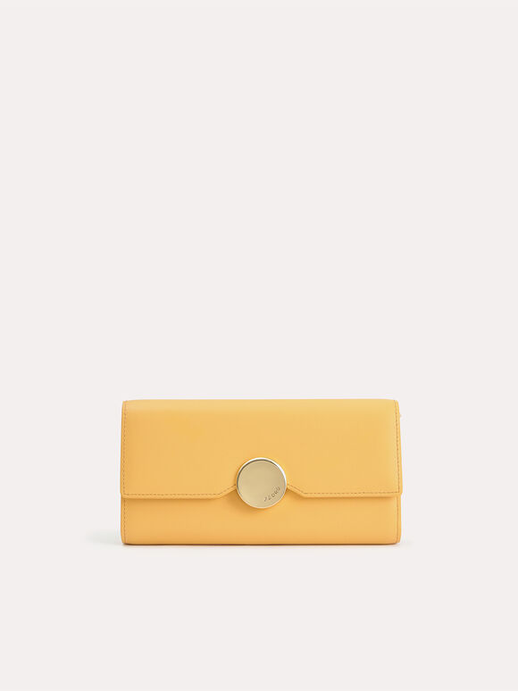 Long Leather Bi-Fold Wallet, Yellow, hi-res