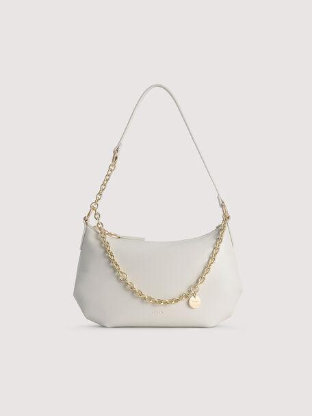 Shoulder Semi-Circle Bag, White, hi-res