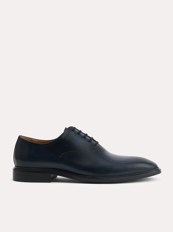 Burnished Leather Oxfords, Navy, hi-res
