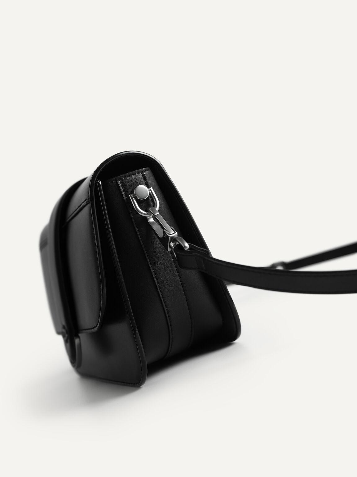 Icon Leather Shoulder Bag, Black, hi-res