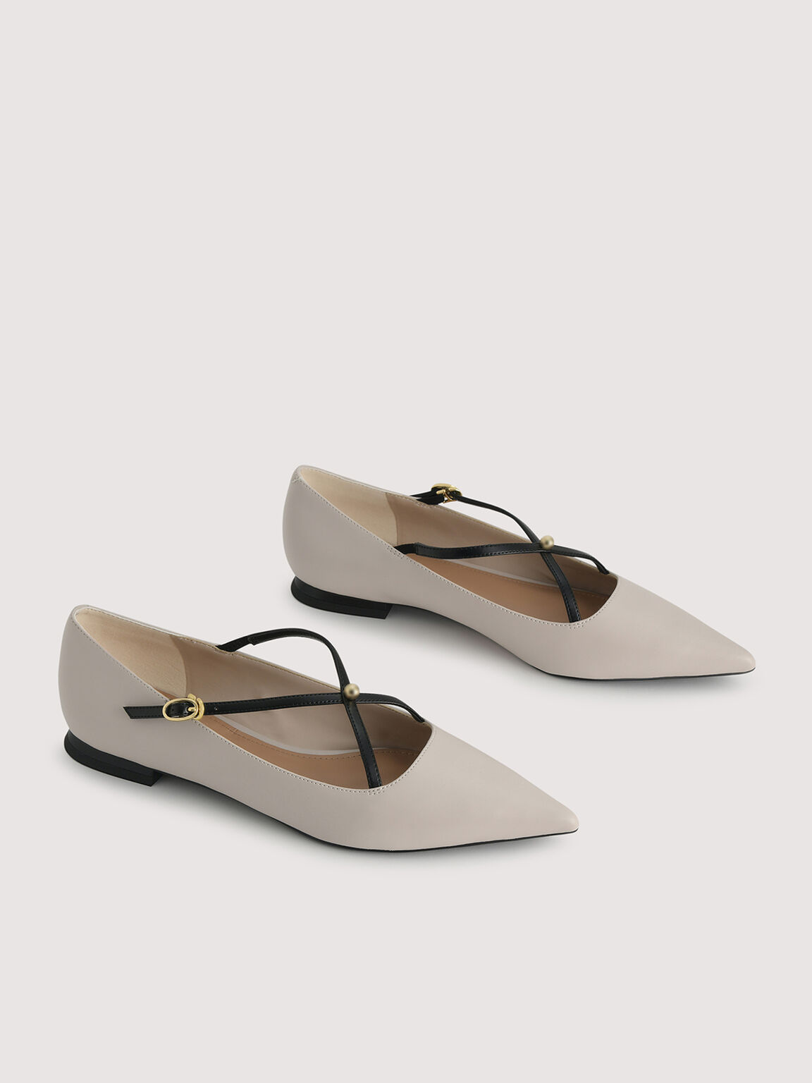 Pointed Toe Strappy Flats, Cream, hi-res