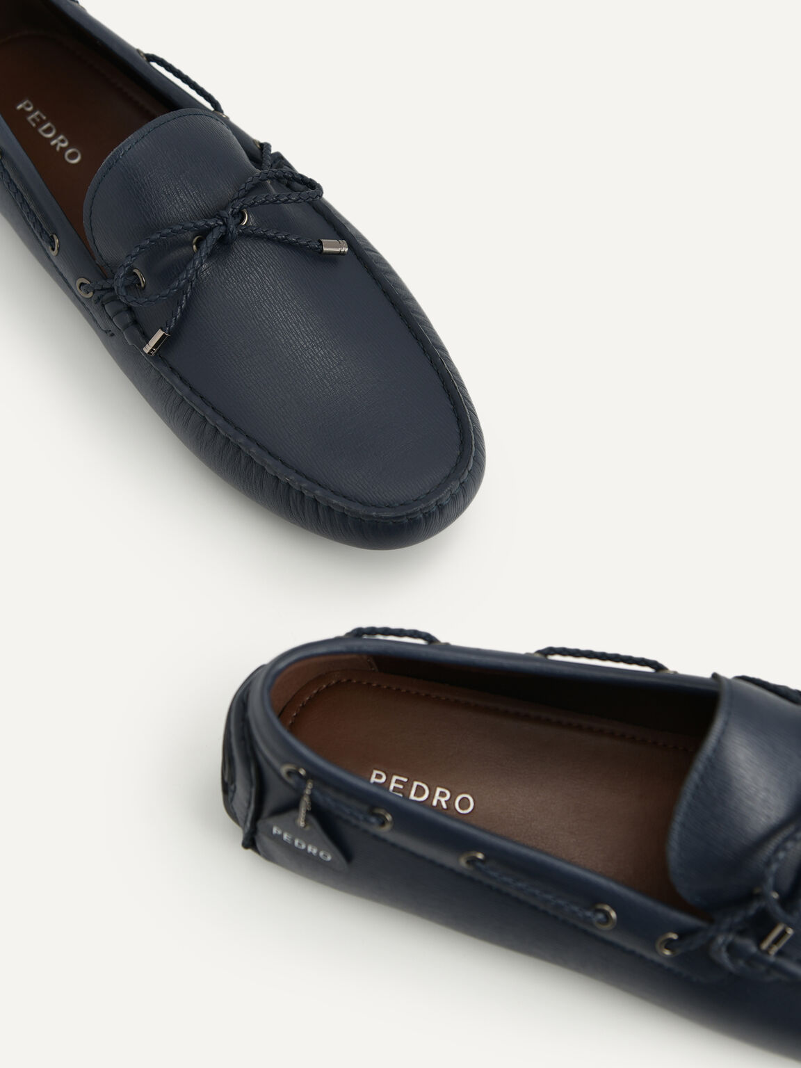 Textured Leather Moccasins, Navy, hi-res