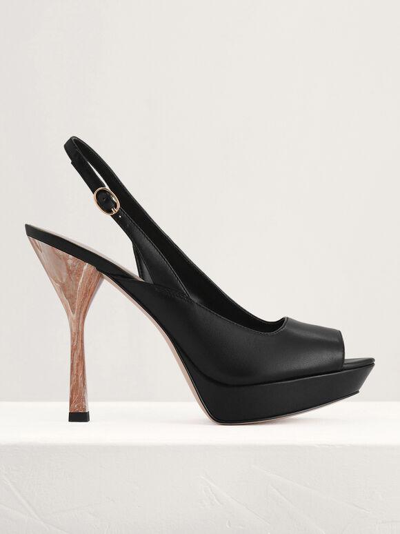 Peep Toe Leather Platform, Black, hi-res