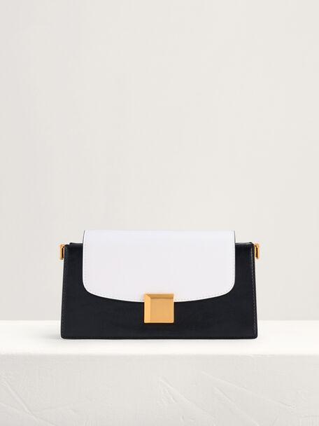 Gold Buckled Mini Shoulder Bag in Two-Tone, Multi2, hi-res