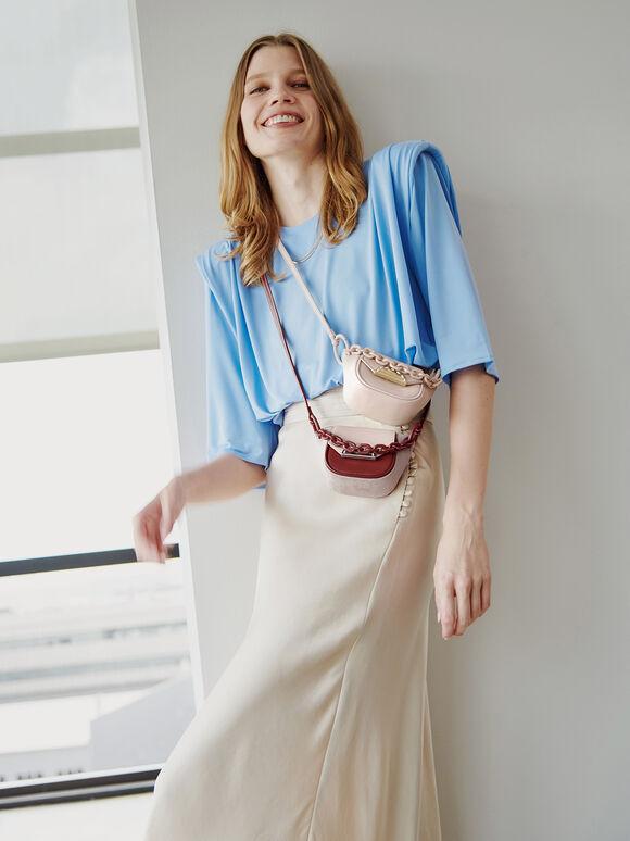 Leather Micro Sling Bag, Cream, hi-res