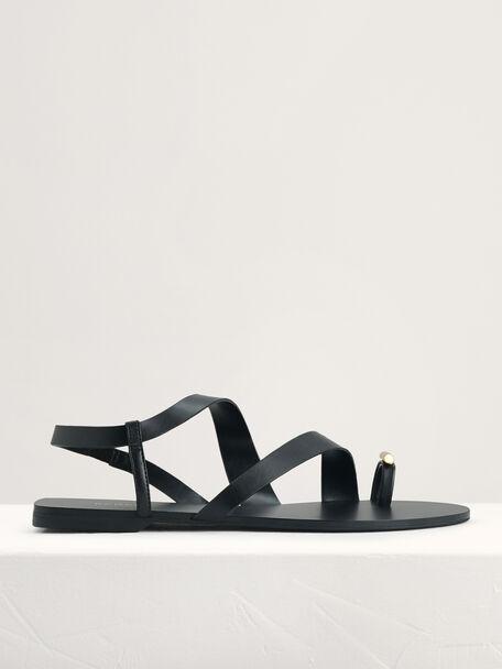 Toe Loop Slingback Sandals, Black, hi-res