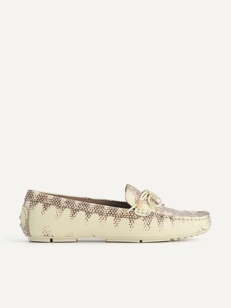 Textured Leather Bow Moccasins, Multi, hi-res