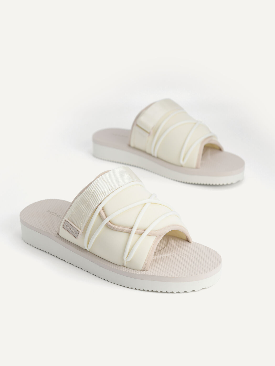 Casual Slides with Lace Detail, White, hi-res