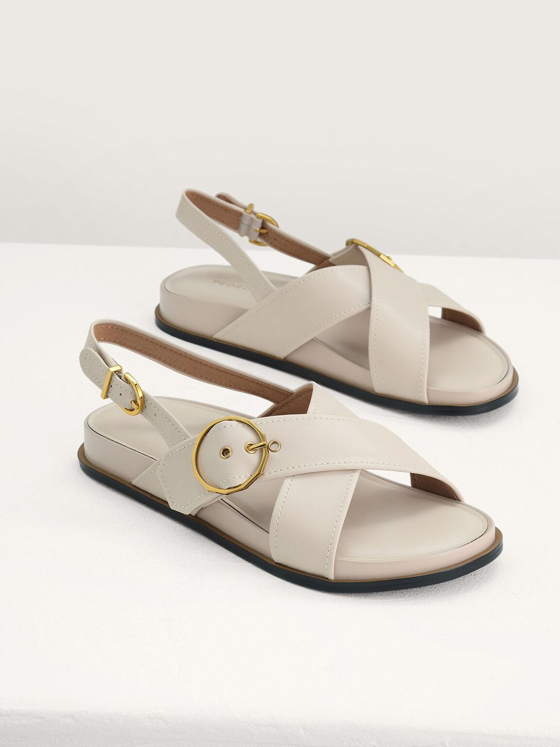 Platform Slingback Sandals, Cream, hi-res