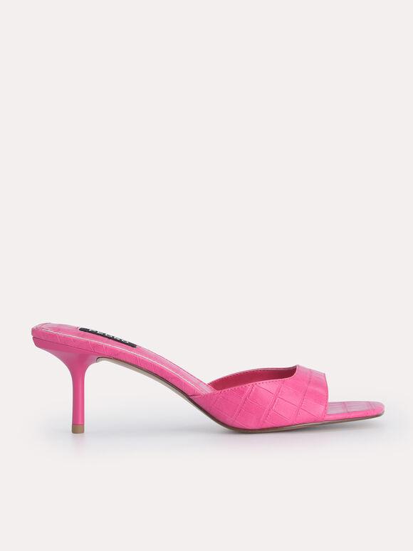 Croc-Effect Heeled Sandals, Fuchsia, hi-res
