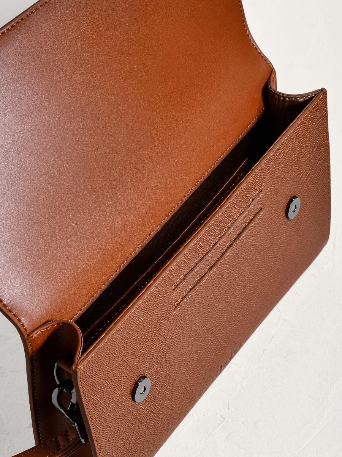 Striped Leather Clutch, Cognac, hi-res