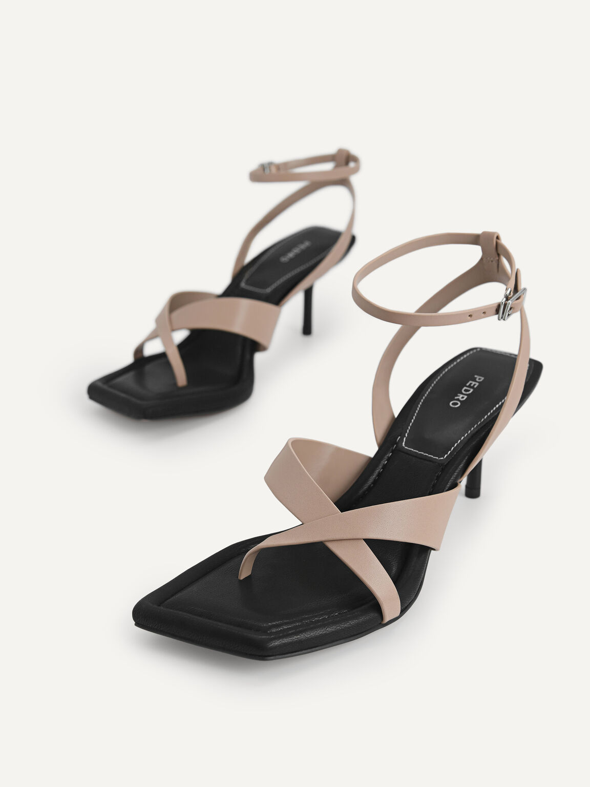 Strappy Square-Toe Heeled Sandals, Taupe, hi-res