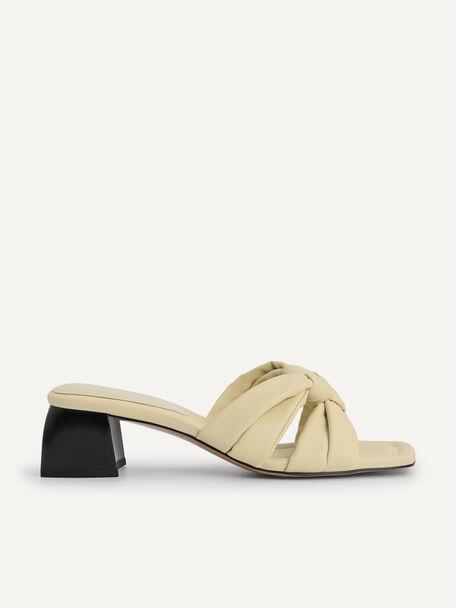Knotted Straps Heeled Sandals, Beige, hi-res