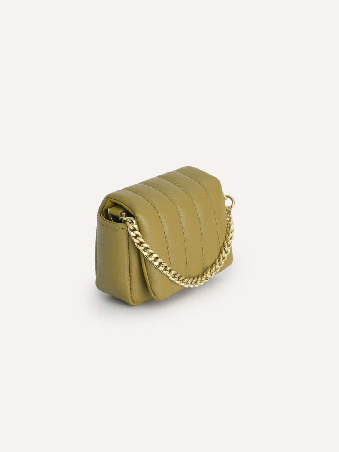 Padded Leather Pouch, Light Green, hi-res