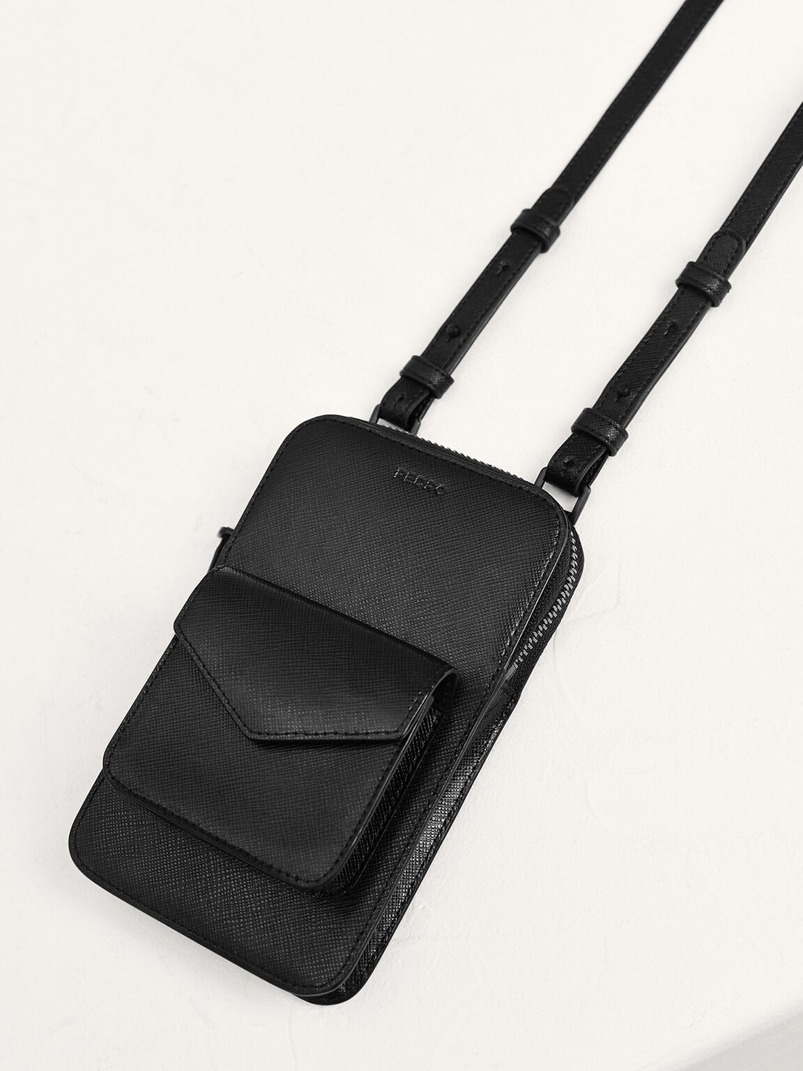 Embossed Leather Phone Pouch, Black, hi-res