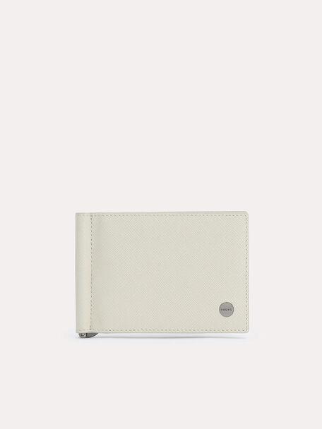 Textured Leather Bi-Fold Money Clip, Chalk, hi-res