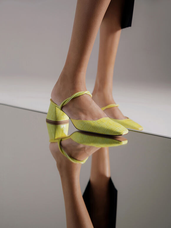 Croc-Effect Heeled Mules, Yellow, hi-res