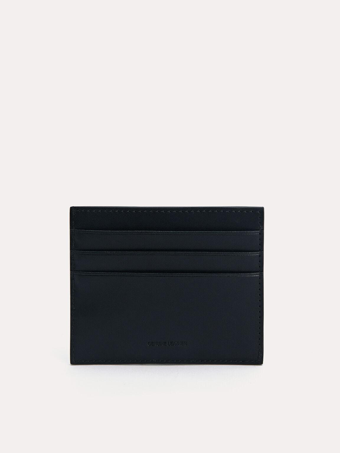 Two-Tone Leather Cardholder, Black, hi-res